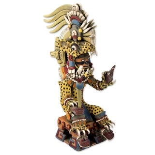 Handmade Tezcatlipoca As A Jaguar Ceramic Sculpture (Mexico)
