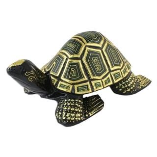 Handmade Regal Turtle Wood Sculpture (Thailand)