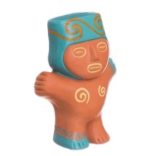 Handmade Cuchimilco Man Terracotta Figurine (Peru)