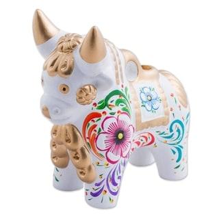 White Pucara Bull Ceramic Figurine