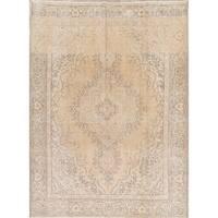 Gracewood Hollow Lema Handmade Beige Wool and Cotton Persian Area Rug - 10'6 x 7'9