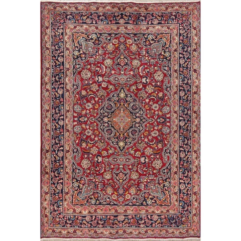 Copper Grove Faxe Mashad Vintage Medallion Handmade Persian Heirloom Item Area Rug - 6'6 x 9'7