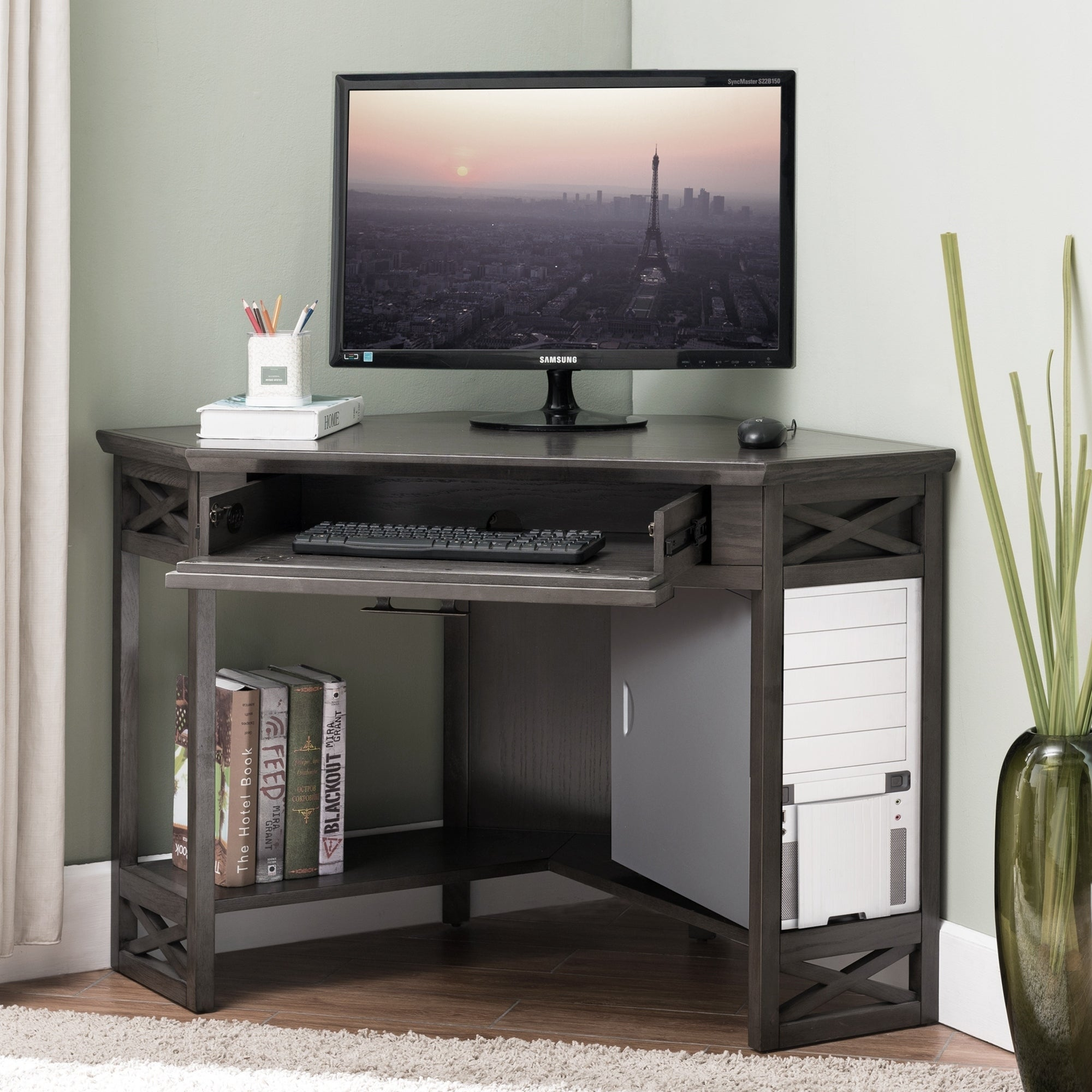 Grey Wood Corner Computer Writing Desk