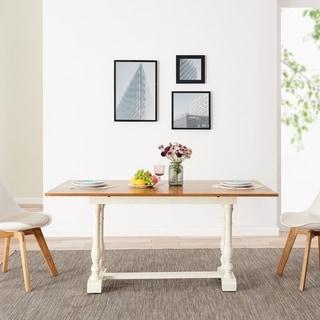 The Gray Barn Eddlewood Farmhouse Folding Trestle Console to Dining Table - Oak/Ivory