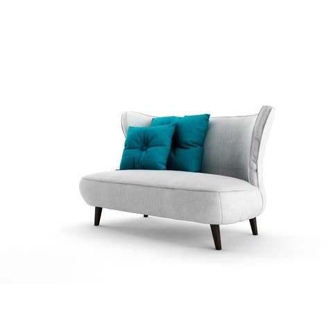 ORRIS Grey Fabric/Wood Loveseat