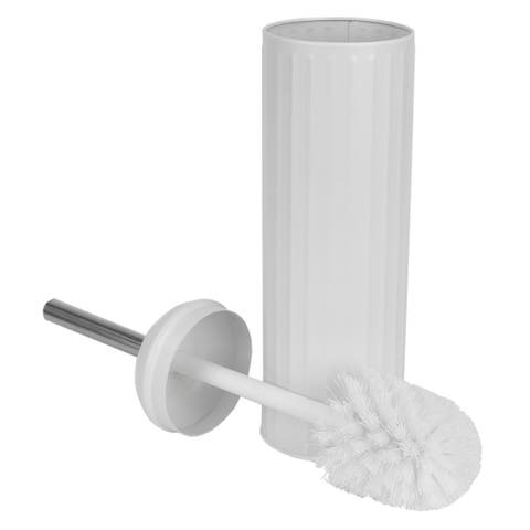Splash Proof Toilet Brush with Hygienic Holder, White