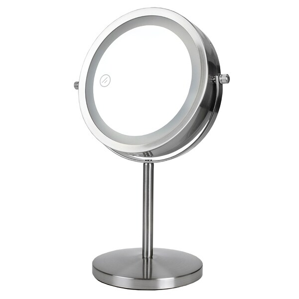 Cosmetic Mirror with LED Light, Satin Nickel