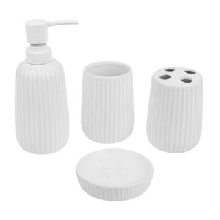 Link to Contour 4 Piece Ceramic Bath Accessory Set, White Similar Items in Bathroom Accessory Sets