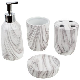 Link to Marble Ceramic 4 Piece Bath Accessory Set, White Similar Items in Bathroom Accessory Sets