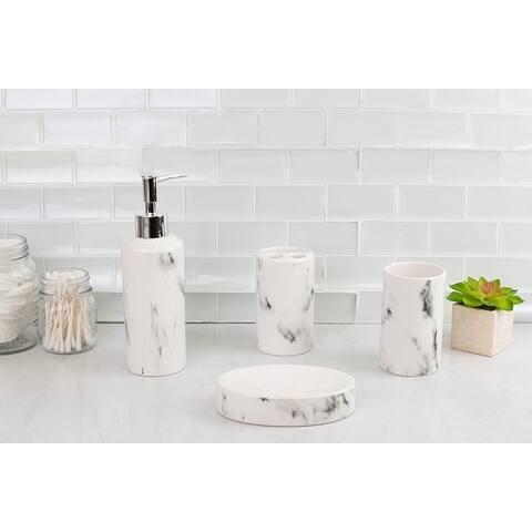 Marble Ceramic 4 Piece Bath Accessory Set, White