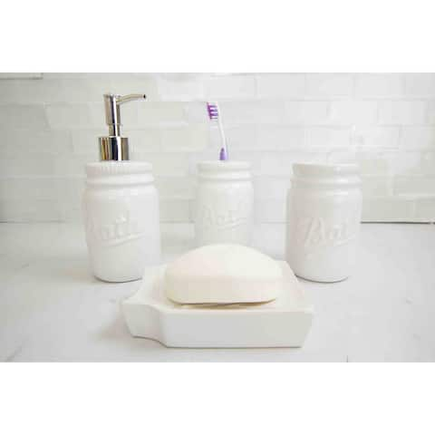 4 Piece Dolomite Mason Jar Bath Set, White