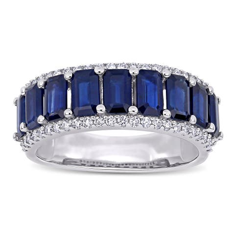 Miadora 14k White Gold Octagon-Cut Blue Sapphire and 1/3ct TDW Diamond Anniversary Band