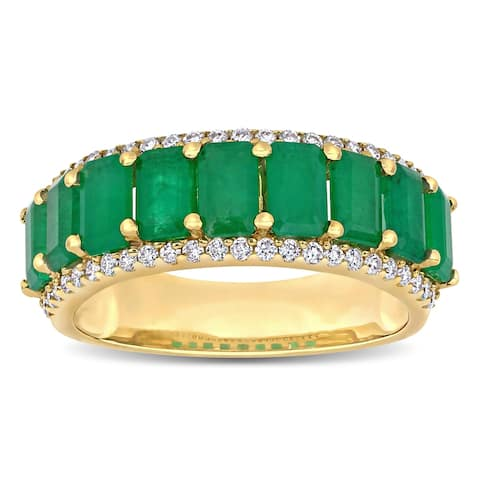 Miadora 14k Yellow Gold Octagon-Cut Emerald and 1/3ct TDW Diamond Anniversary Band Ring