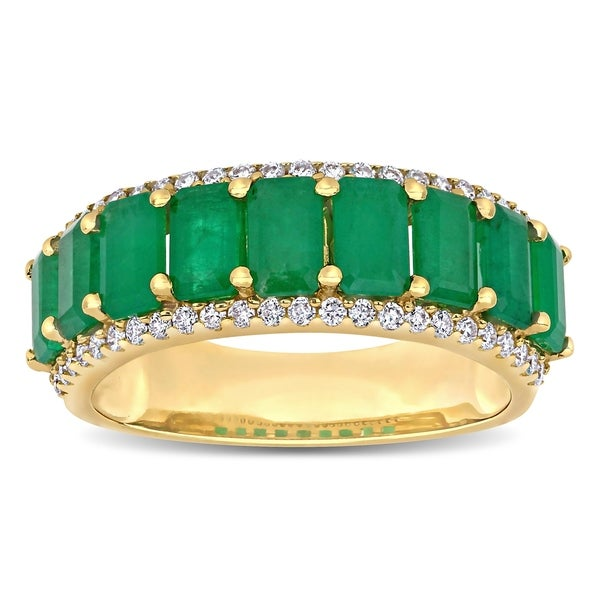 Miadora 14k Yellow Gold Octagon-Cut Emerald and 1/3ct TDW Diamond Anniversary Band Ring. Opens flyout.