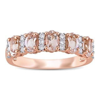 Miadora 14k Rose Gold Oval Cut Morganite And 1 6ct TDW Diamond Anniversary Band Ring