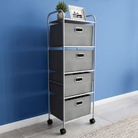 Rolling Storage Cart on Wheels- Portable Metal Storage Organizer with Drawers and Fabric Bins by Lavish Home