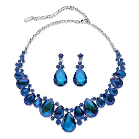 """Silver Tone Bib Necklace and Earring Set, Blue Crystal, 16"""" plus 2"""""""