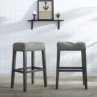 The Gray Barn Overlook Upholstered Backless Saddle Seat Bar Stool in Tan (Set of 2) (As Is Item)