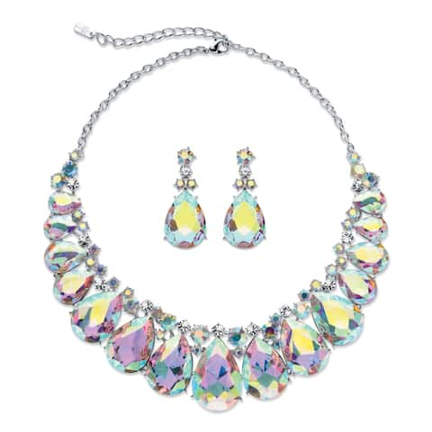 "Silver Tone Tone Bib Necklace Set, Aurora Borealis Crystal, 16"" - Multi"