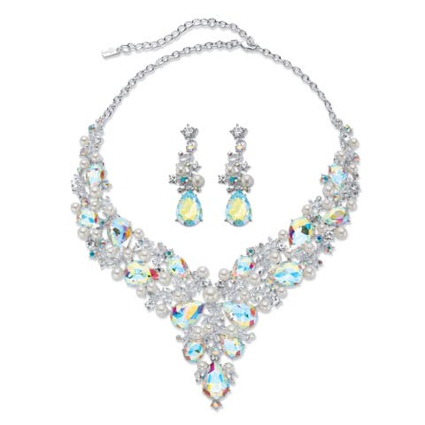 "Silver Tone Bib Necklace and Earring Set, Aurora Borealis Crystal, 18"" - Multi/White"