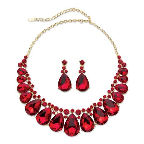 """Gold Tone Bib Necklace Set, Pear Cut Red Crystals, 16"""" plus 2"""""""