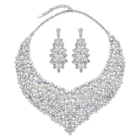 """Silver Tone Bib Necklace and Earring Set, Simulated Pearls, 18"""" - White"""