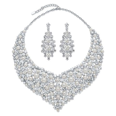 "Silver Tone Bib Necklace and Earring Set, Simulated Pearls, 18"" - White"