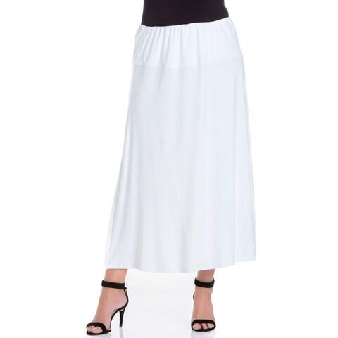 24seven Comfort Apparel Elastic Waist Comfortable Maternity Maxi Skirt