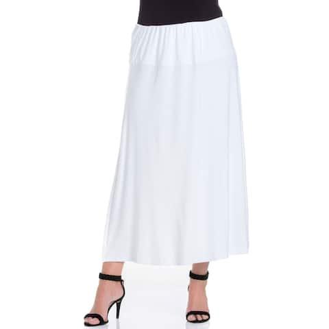 24seven Comfort Apparel Womens Elastic Waist Plus Size Maxi Skirt