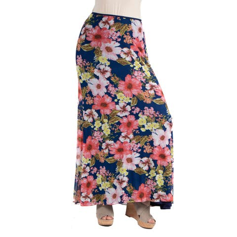 24seven Comfort Apparel Sheer Floral Plus Size Maxi Skirt
