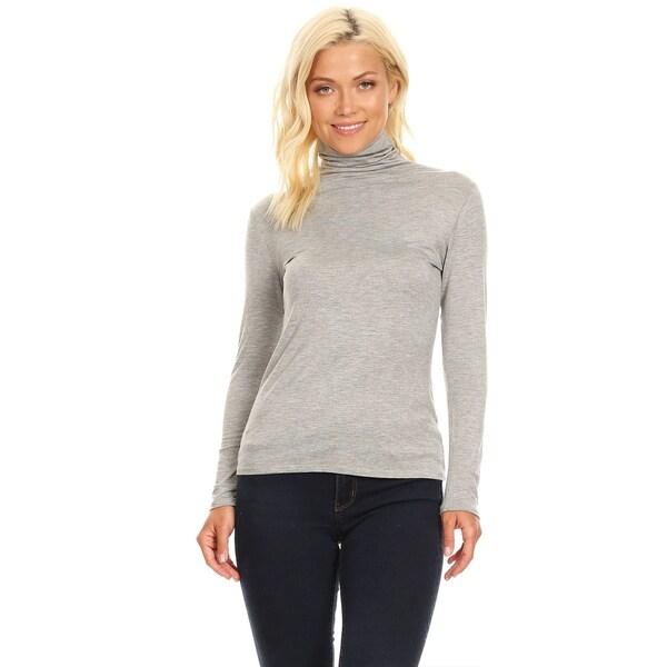 Women's Solid Premium Long Sleeve Turtleneck Lightweight Pullover Top Sweater. Opens flyout.