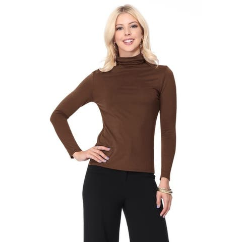 Women's Solid Premium Long Sleeve Turtleneck Lightweight Pullover Top Sweater