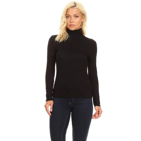 Women's Solid Premium Long Sleeve Turtleneck Lightweight Pullover Top Sweater