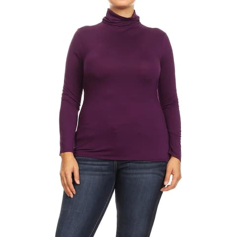 Women's Solid Premium Long Sleeve Turtleneck Lightweight Pullover Plus Size Top Sweater