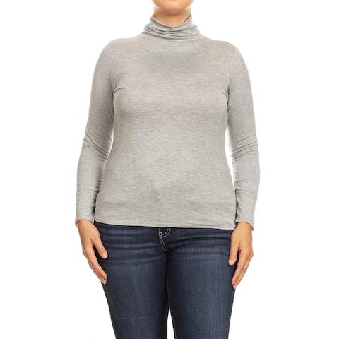 Women's Solid Premium Long Sleeve Turtleneck Lightweight Pullover Plus Size Top Sweater