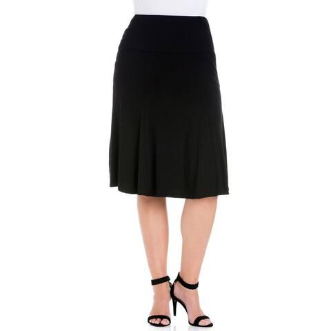 24seven Comfort Apparel Comfortable Black Plus size Midi Skirt