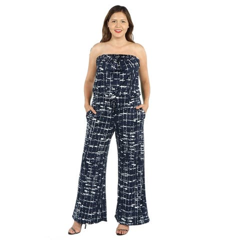 24seven Comfort Apparel Strapless Plus Size Jumpsuit with Pockets