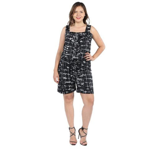24seven Comfort Apparel Sleeveless Black Plus Size Romper with Pockets