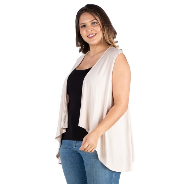 Shop 24seven Comfort Apparel Sleeveless Open Front Plus Size