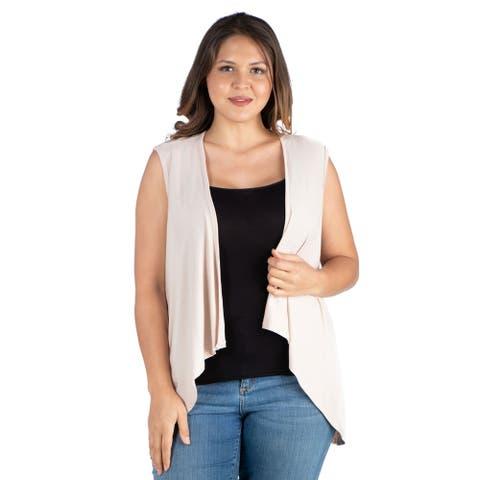 24seven Comfort Apparel Sleeveless Open Front Plus Size Cardigan Vest