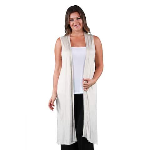24seven Comfort Apparel Long Sleeveless Plus Size Cardigan Vest