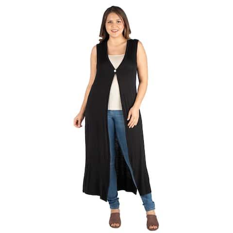 24seven Comfort Apparel Sleeveless Plus Size Cardigan Duster Vest