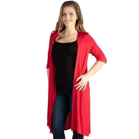 24seven Comfort Apparel Knee Length Elbow Sleeve Open Front Plus Size Cardigan