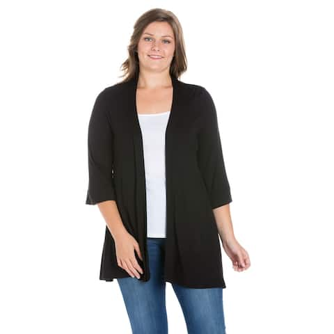 24seven Comfort Apparel Elbow Length Sleeve Open Front Plus Size Cardigan