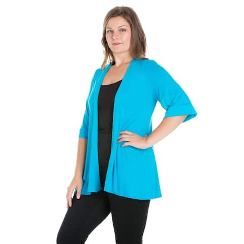 24seven Comfort Apparel Elbow Length Sleeve Plus Size Cardigan