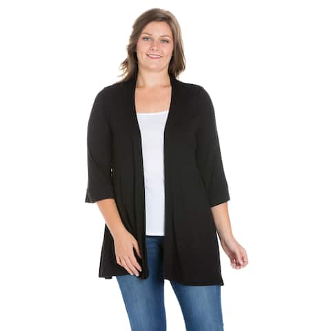 fbddbce3c25d2b 24seven Comfort Apparel Elbow Length Sleeve Open Front Plus Size Cardigan