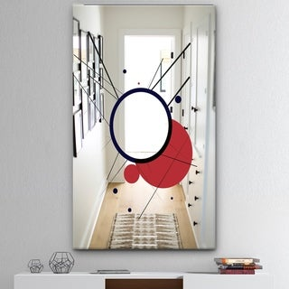 Designart 'Circular Web 2' Mid-Century Mirror - Large Wall Mirror - Red