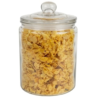 Link to Renaissance Collection Medium Glass Jar with Easy Grab Knob Handles, Clear Similar Items in Accent Pieces