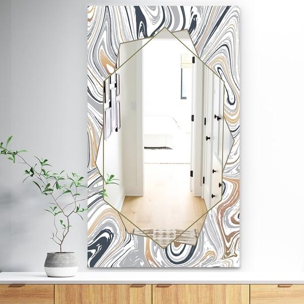 Designart 'Marbled Diamond 19' Traditional Mirror - Vanity Mirror - Grey
