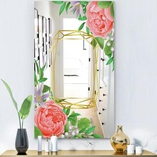 Designart 'Efflorescent Gold Pink 6' Modern Mirror - Wall Mirror